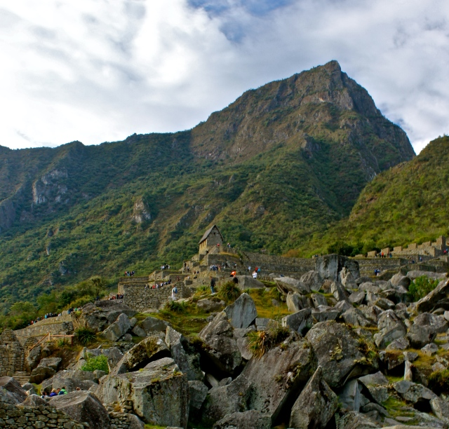 View of Machu PIcchu Mountain and the local rock quarry.